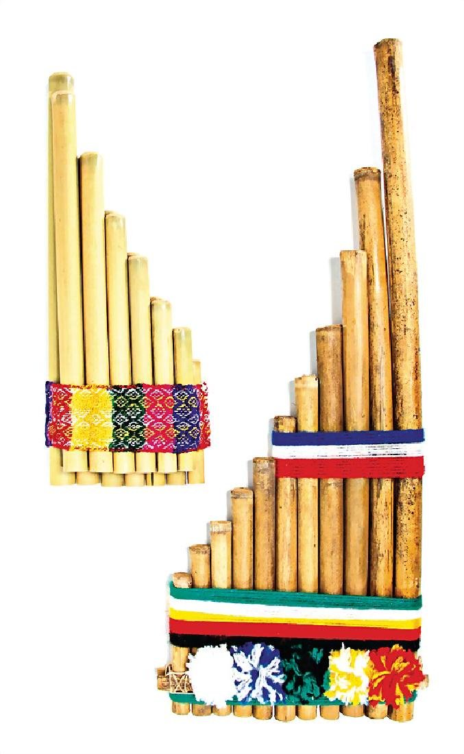panpipes, bamboo canes with braid, 29 cm and  49 cm