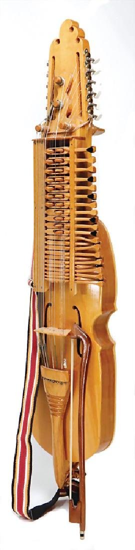 nyckelharpa  with bow, bowed instrument, wood, 1.01 m,