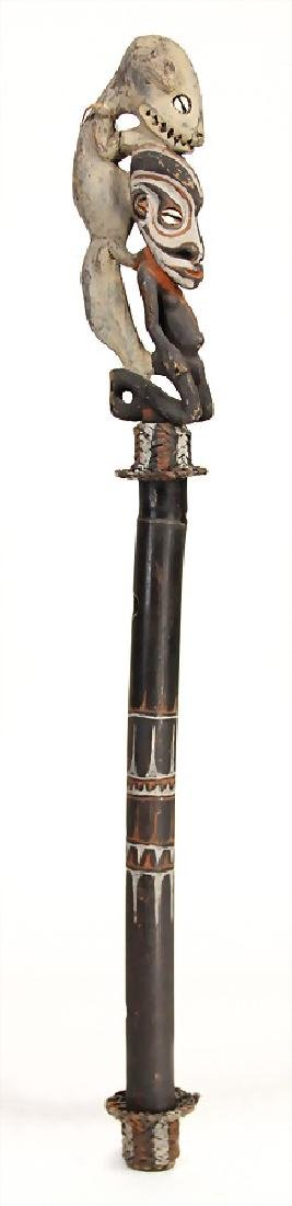 flute, bamboo, with carved top, New Guinea, Middle
