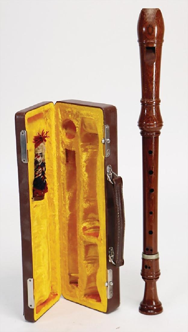 alto recorder, baroque style, painted rosewood, signed