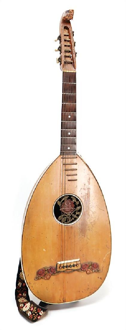 lute, wood with flower decor, 6 strings, clearly traces