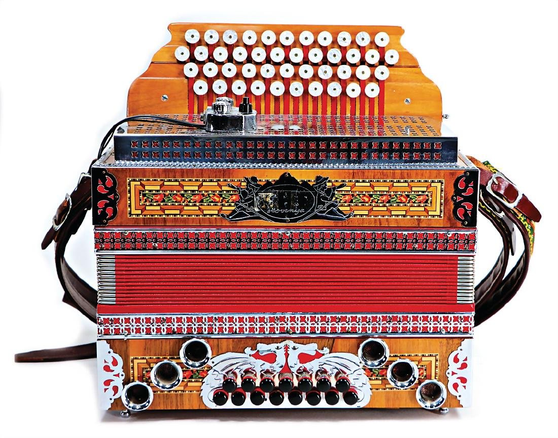 accordion, Melodija Menges Slovenija, wood: with inlaid