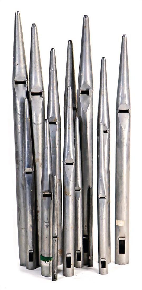 organ pipes, 39 organ pipes, 23 - 29.5 cm, metal,