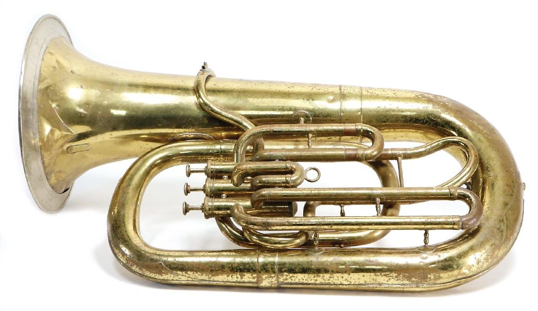 bass horn, with 3 valves, signed: F. Mallach