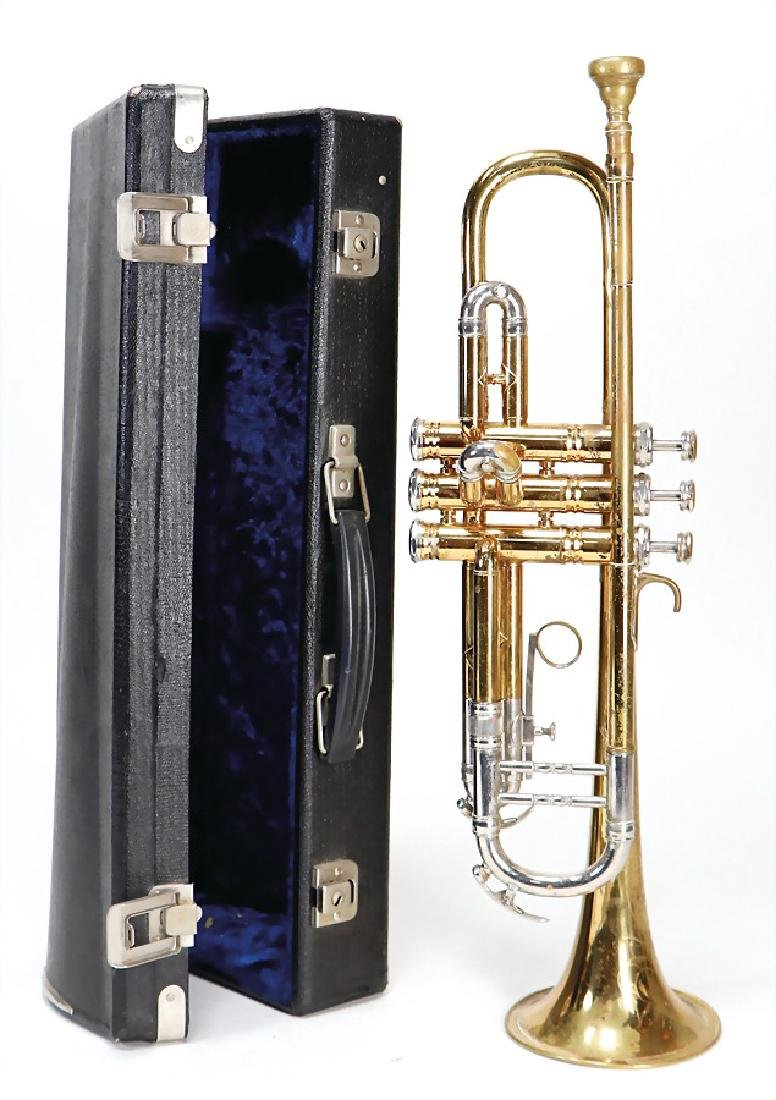 trumpet, brass, with tuning slide, chased, Krone K