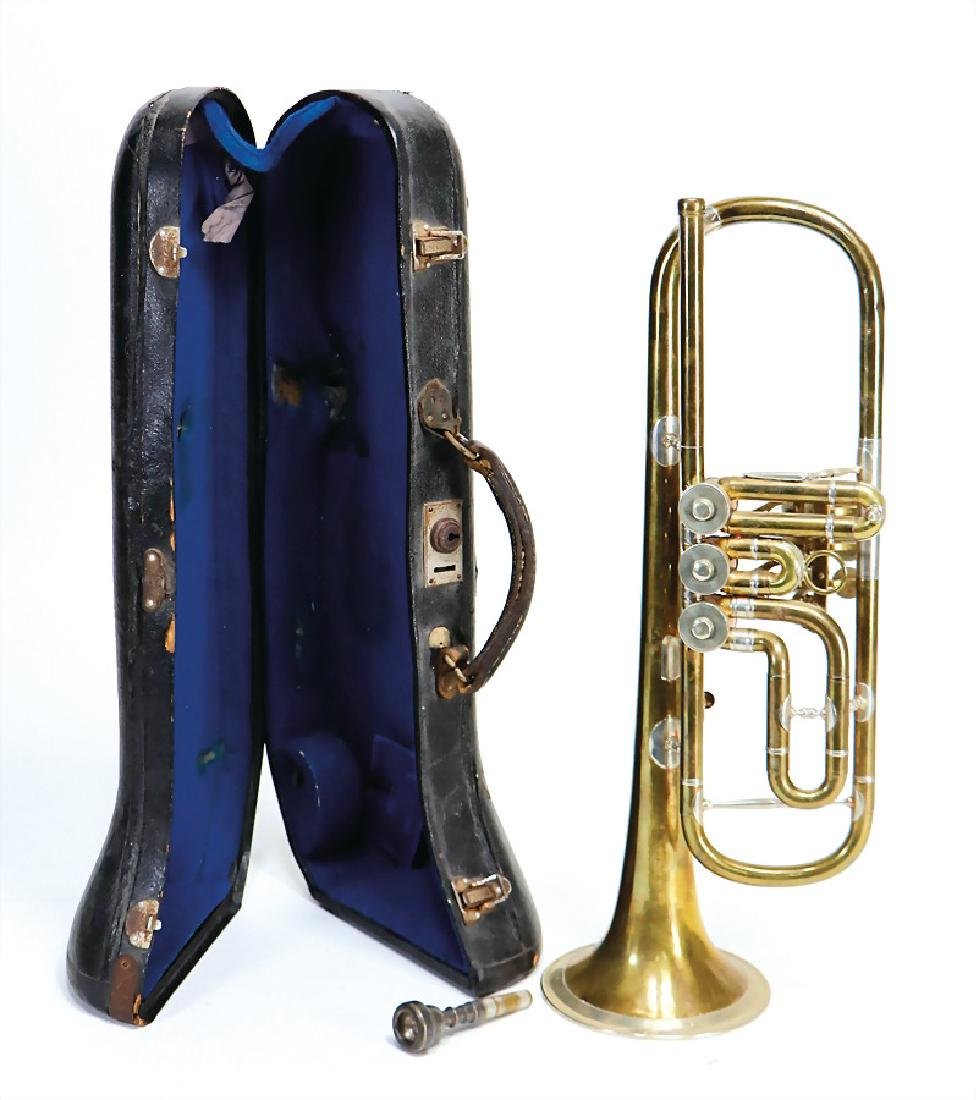 trumpet, painted brass, with bell rim, signature Karl