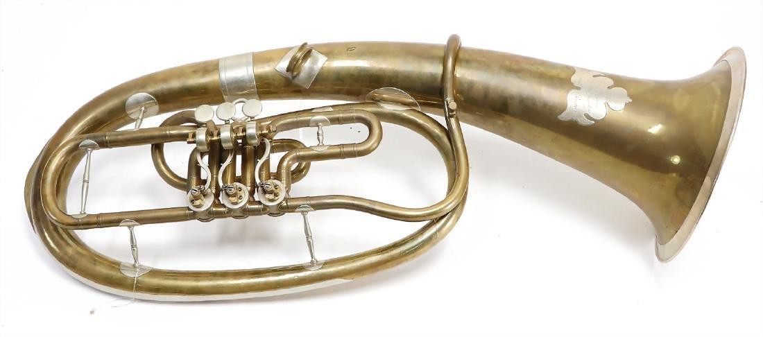 alto horn, oval shaped, 3 valves, England, signature