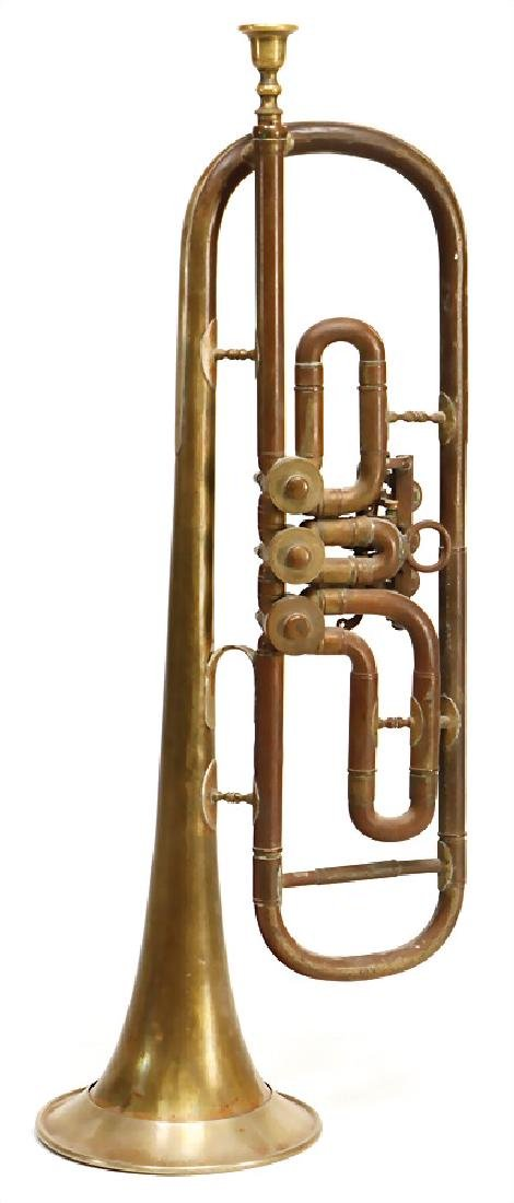 trumpet in b, brass with edge, signature on edge