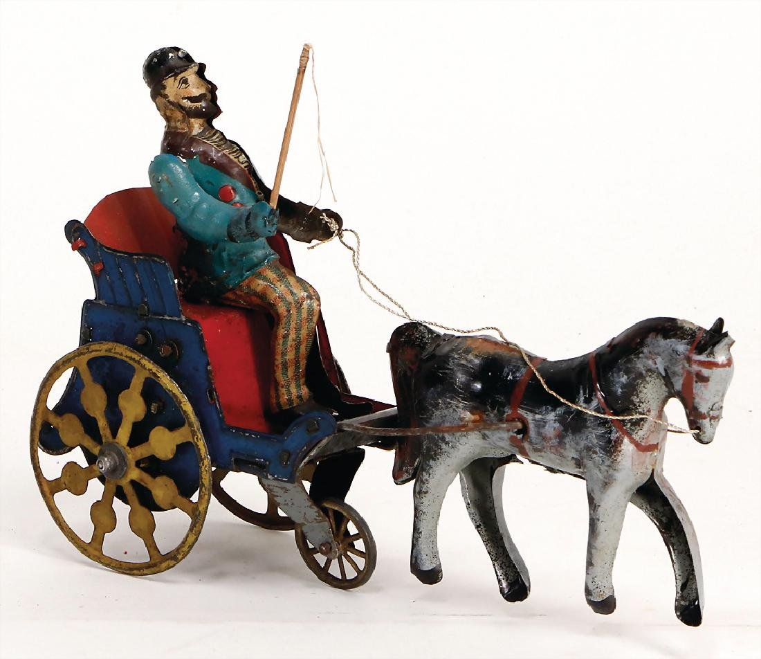 horse with carriage and  coach, lithographed sheet