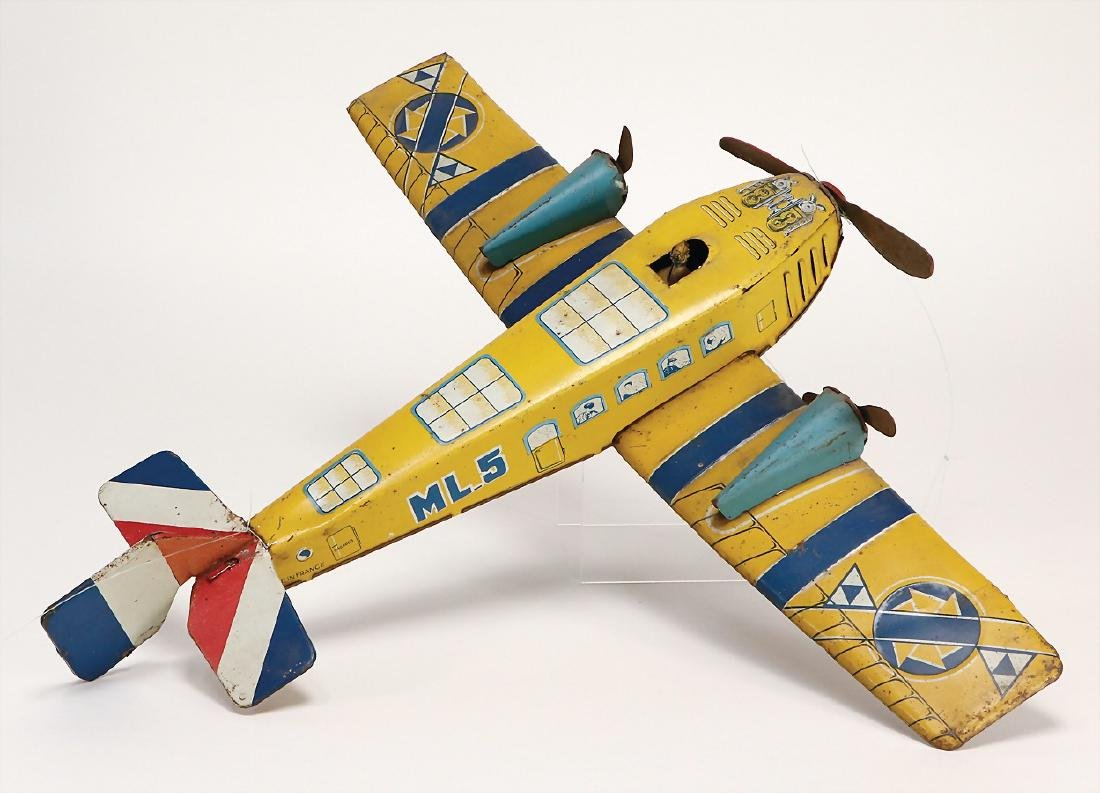plane, lithographed sheet metal, 41 cm, coil spring