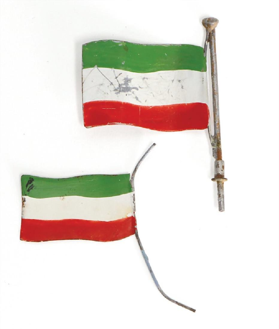 BING 2 pieces, flags, Hungary, handpainted sheet metal,