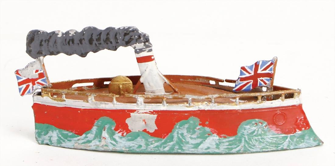 tin, plastic, steamship, 10 cm, with minimally