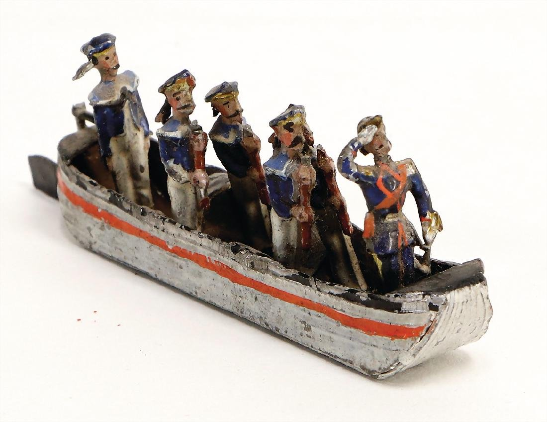 tin, plastic, team boat with 6 sailors, 9 cm, the