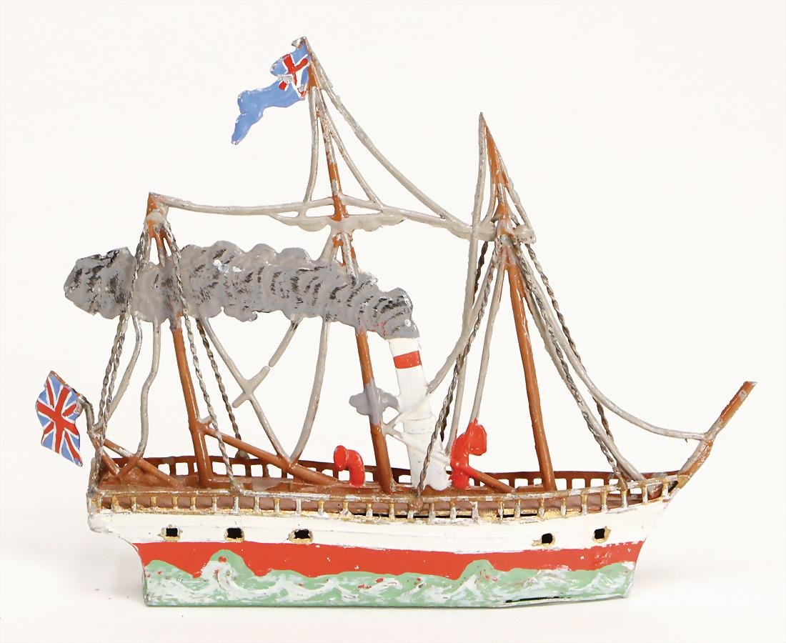 tin, plastic, steamship, 3-mast, 12.5 cm, good