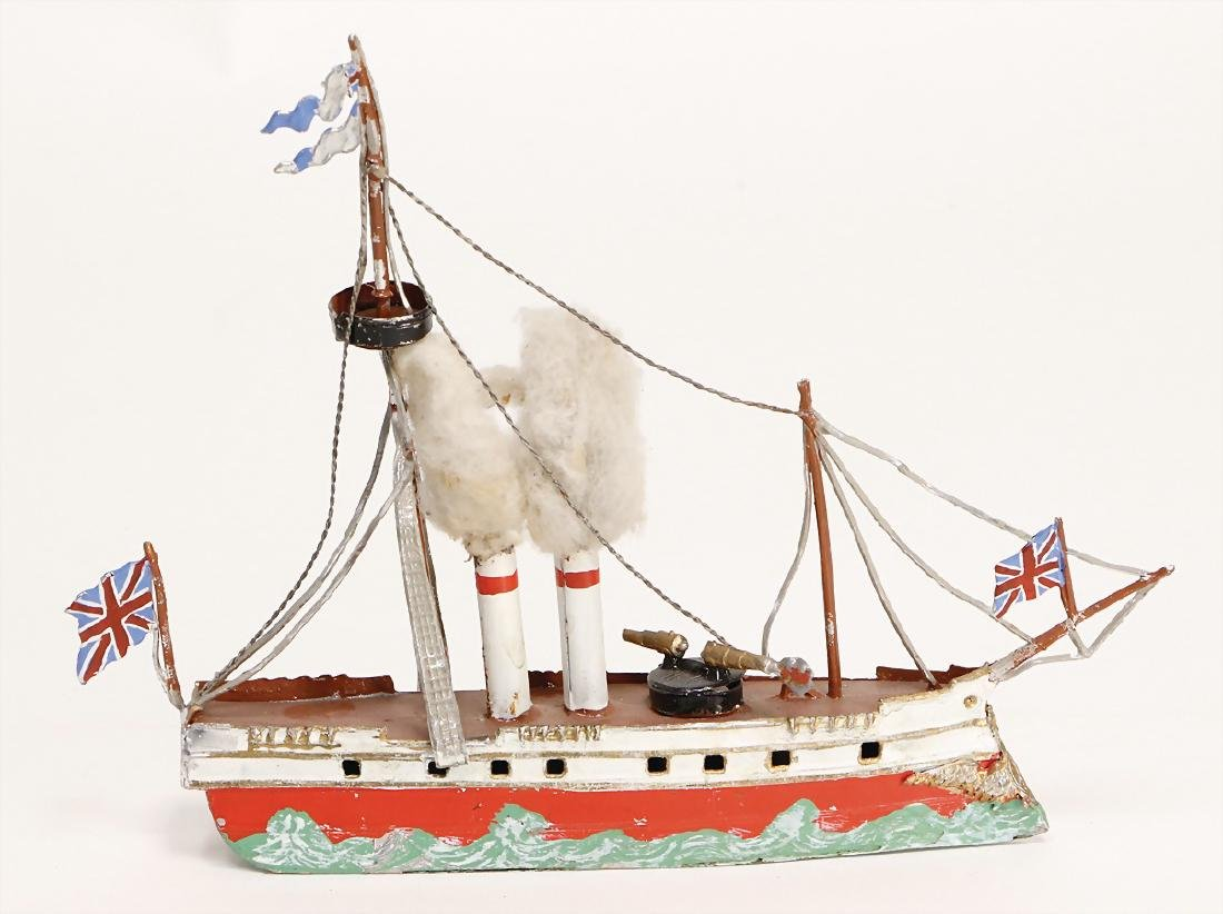 tin, plastic, steamship, 2-mast, 2 funnels, 2 cannons,