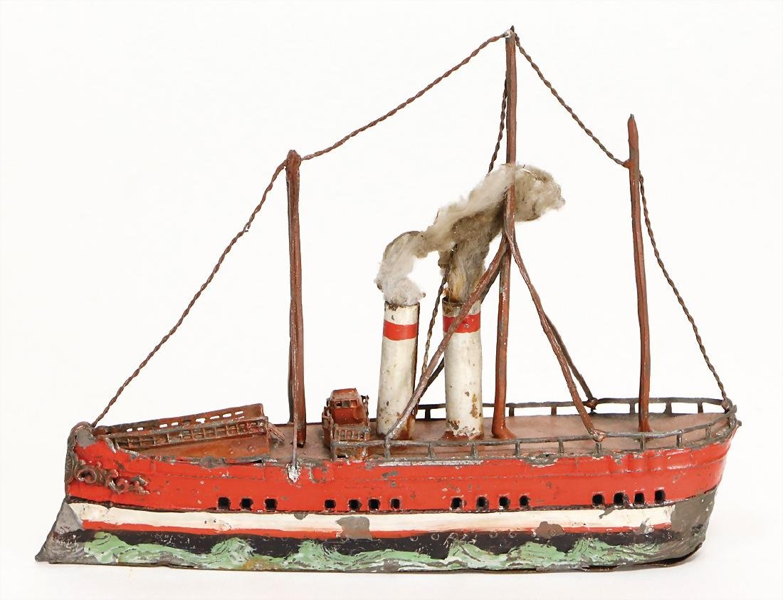 tin, steamship, 16 cm, 3 masts, 2 funnels, the