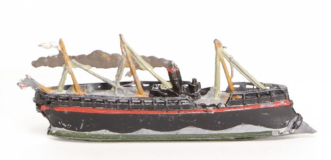 tin, steamship, 9.5 cm, good condition   German