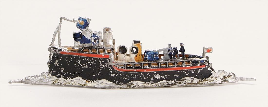 tin, steamship, 13 cm, the scratches on the paintwork