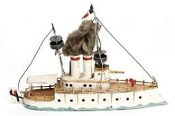 big plastic tin steamship, 21 cm, 2 masts, 2 funnels,