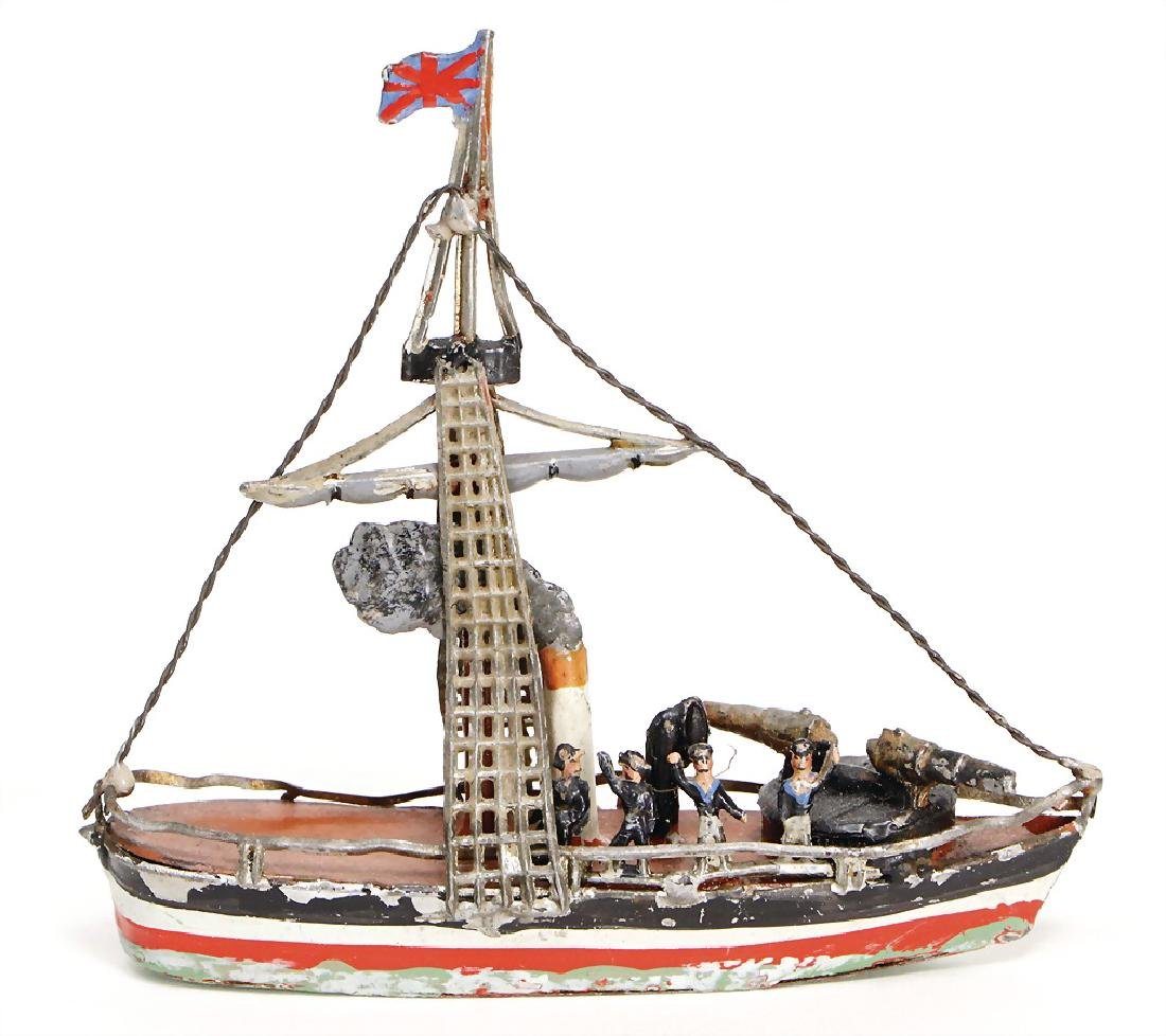 gunboat, tin, 10 cm, 2 cannons, 1 funnel, 4 sailors, 1