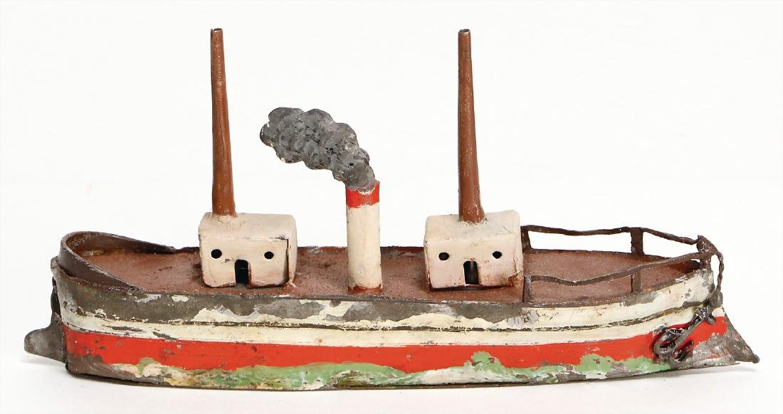 ship, tin, 15.5 cm, 2 masts, 1 funnel, the scratches on