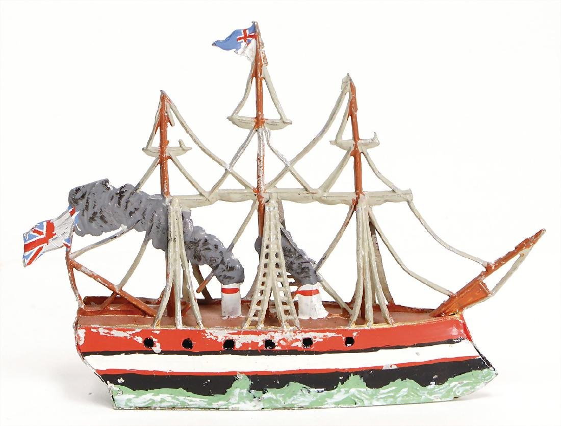 ship, tin, 14 cm, 3 masts, 2 funnels, the scratches on