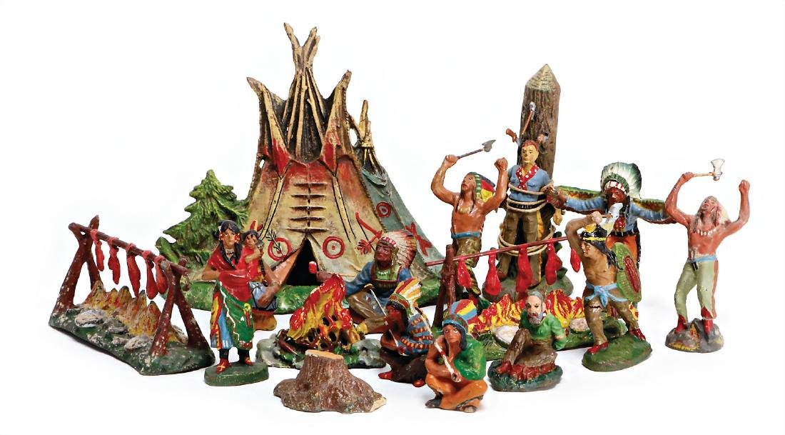 10 pieces Indian figures, mass, mostly Elastolin and