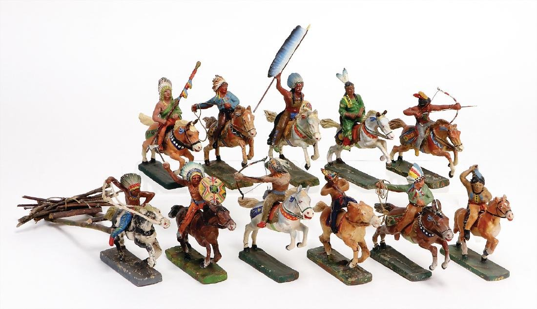 mostly Elastolin, Indian on horseback, 11 pieces, 7/7.5