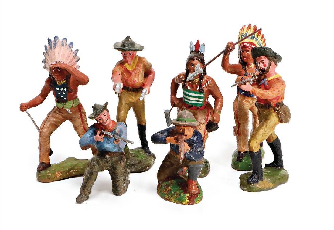 7 pieces Indian and  trapper, mass, 10 cm, pre-war era,