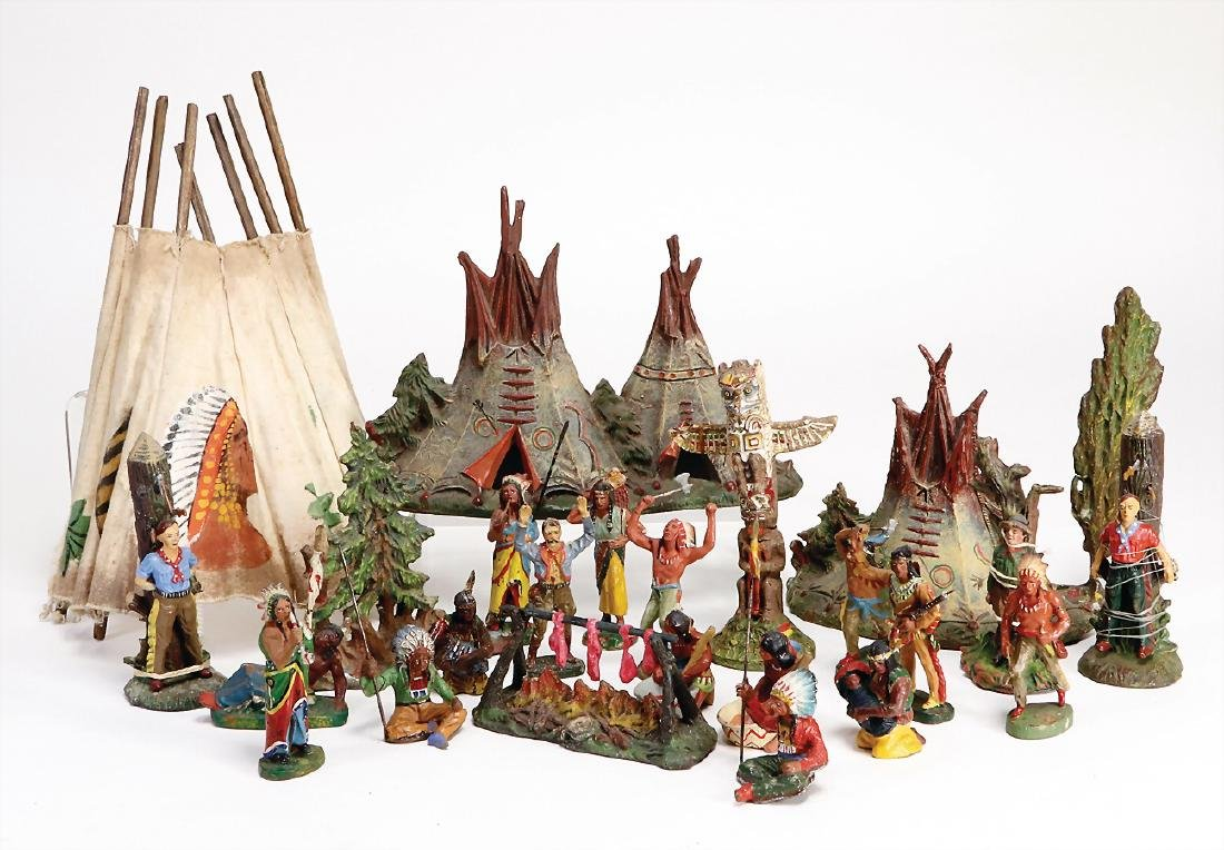 mostly  ELASTOLIN Indian, mostly Elastolin, mass, camp