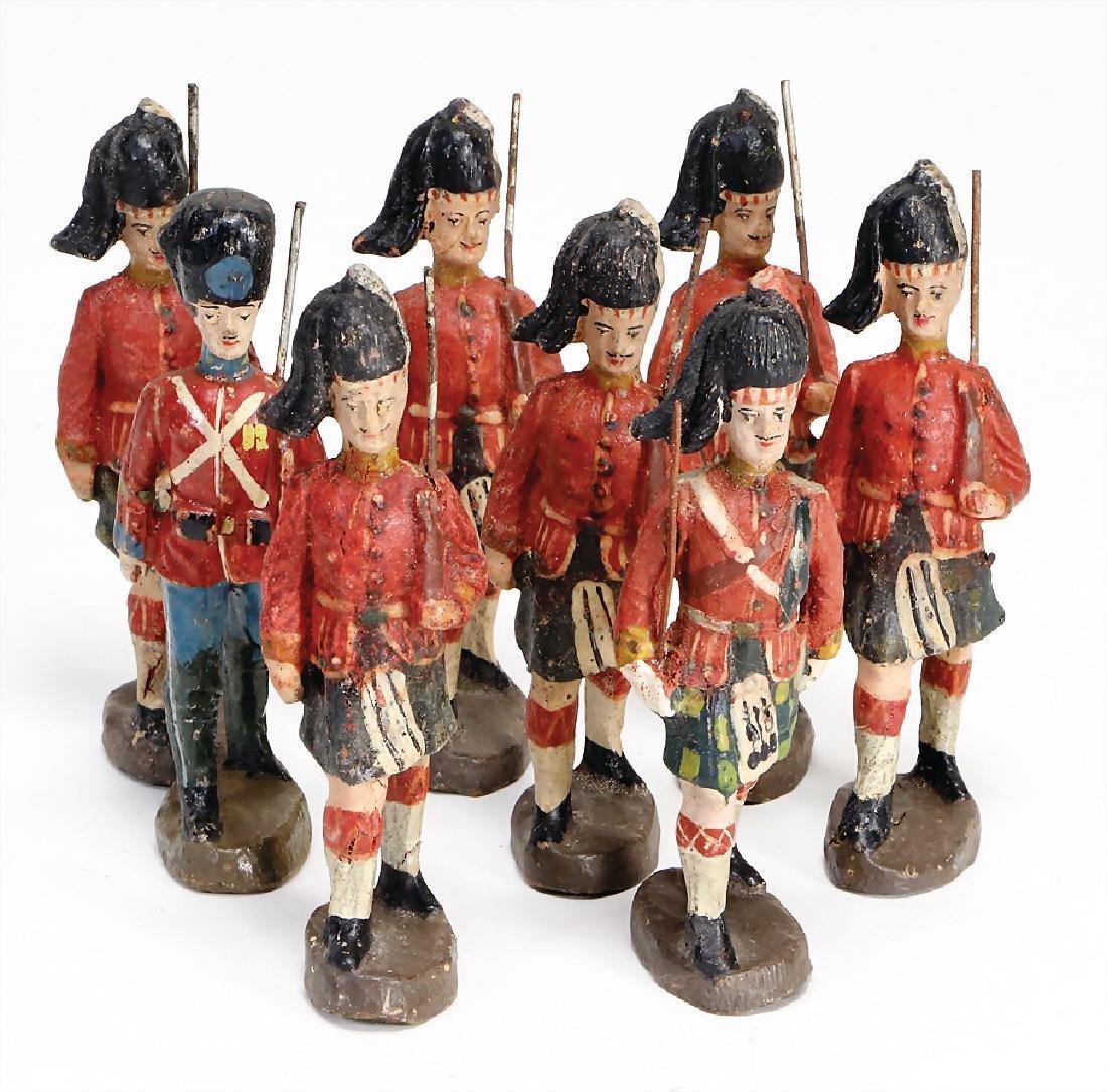 ELASTOLIN First World War, 6 Scots, 1 Englishmen, guard