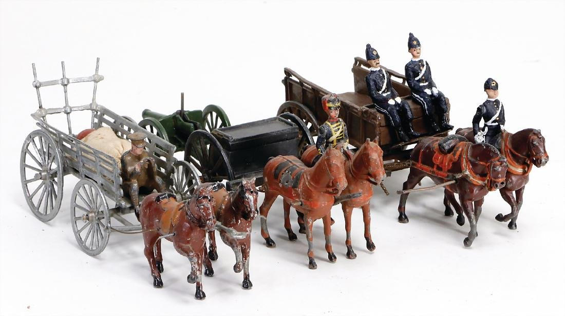 Britain, 3 pieces, horse and cart with cannon 2 x cart,