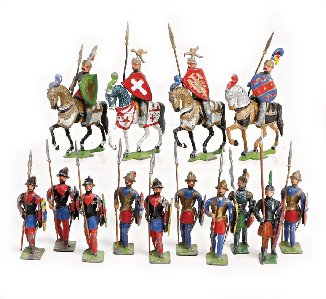 HEYDE knight and  mercenaries, tin composition figures,