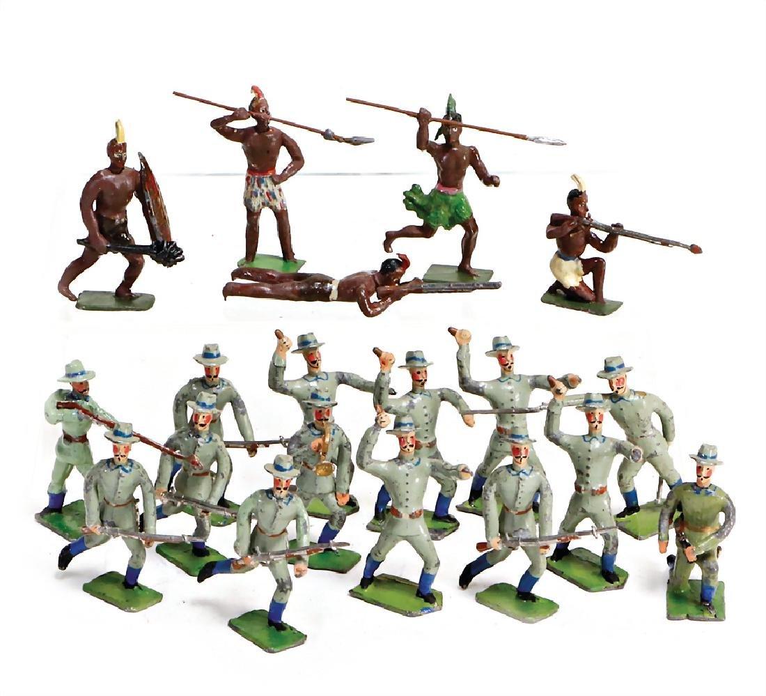 HEYDE tin- composition figures, 5.5 cm, 5 Indian, 15
