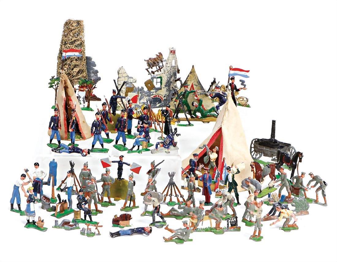 mixed lot of  half plastic figures, 4.5 cm, civilian
