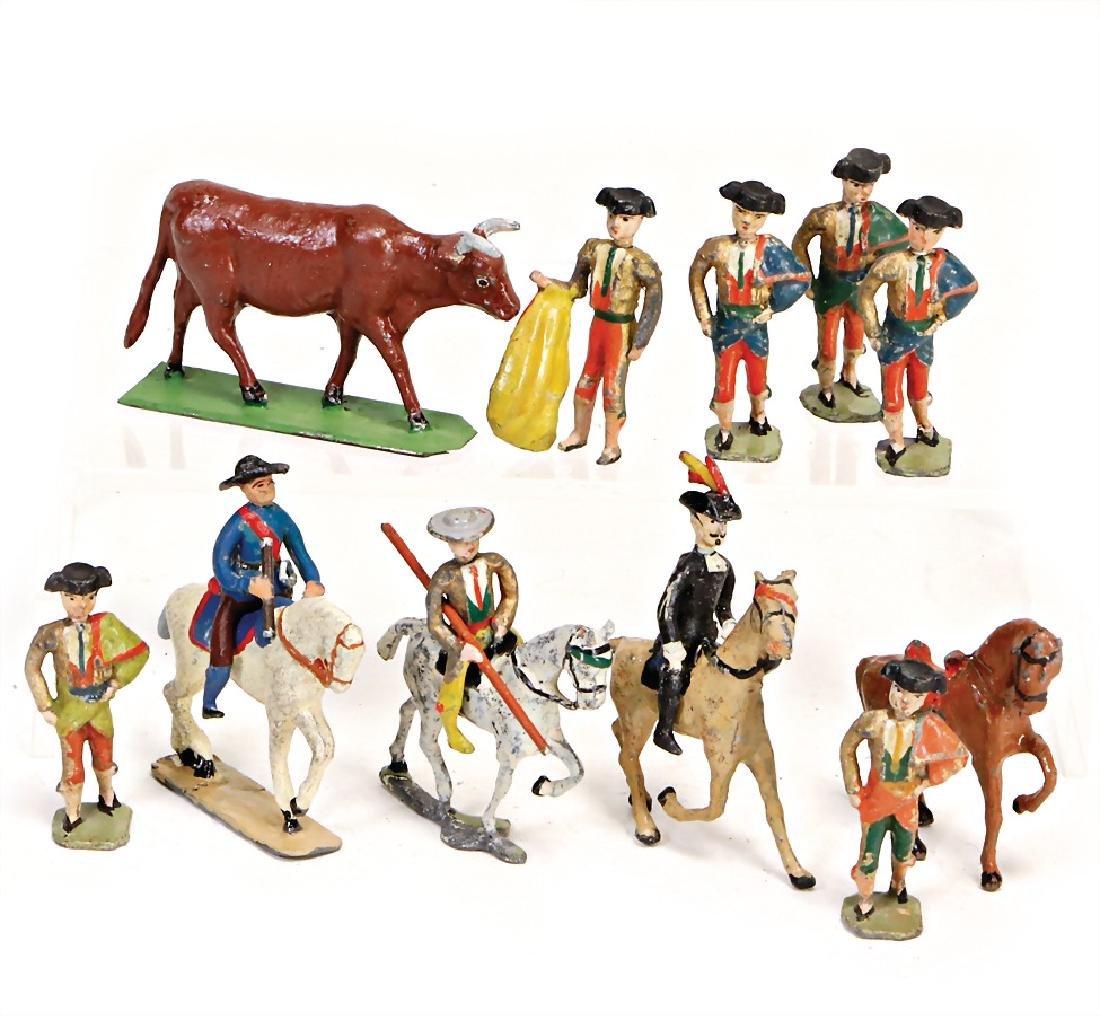 HEYDE bullfight scene, 4/4.5 cm figures, bull, 6