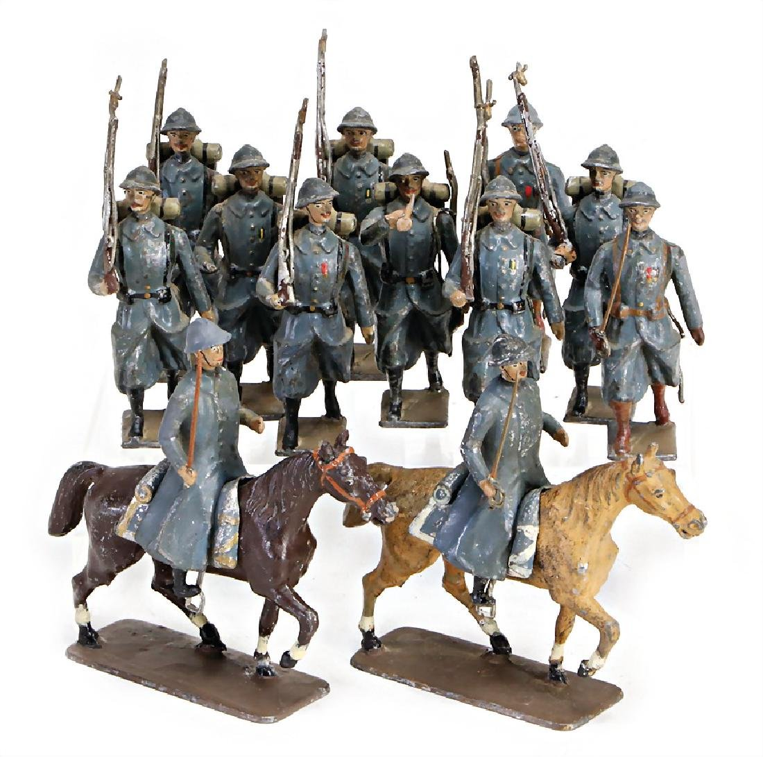Frenchmen, 7.5 cm, casting, 10 x marching, 2 riders,