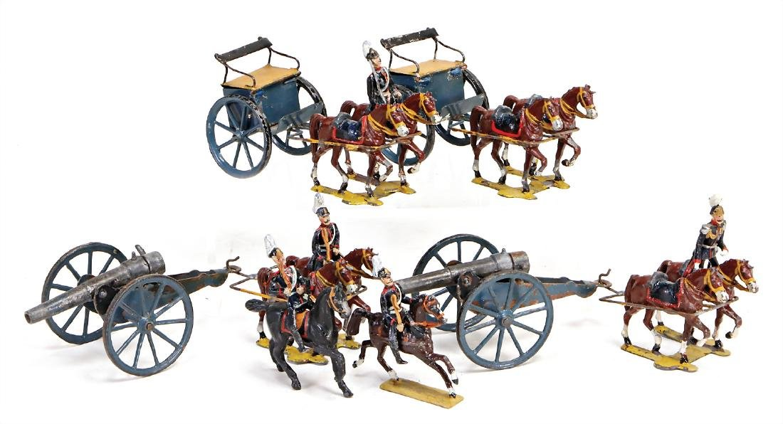 HEYDE artillery, 2 horse and carts, suitable for 5.5 cm