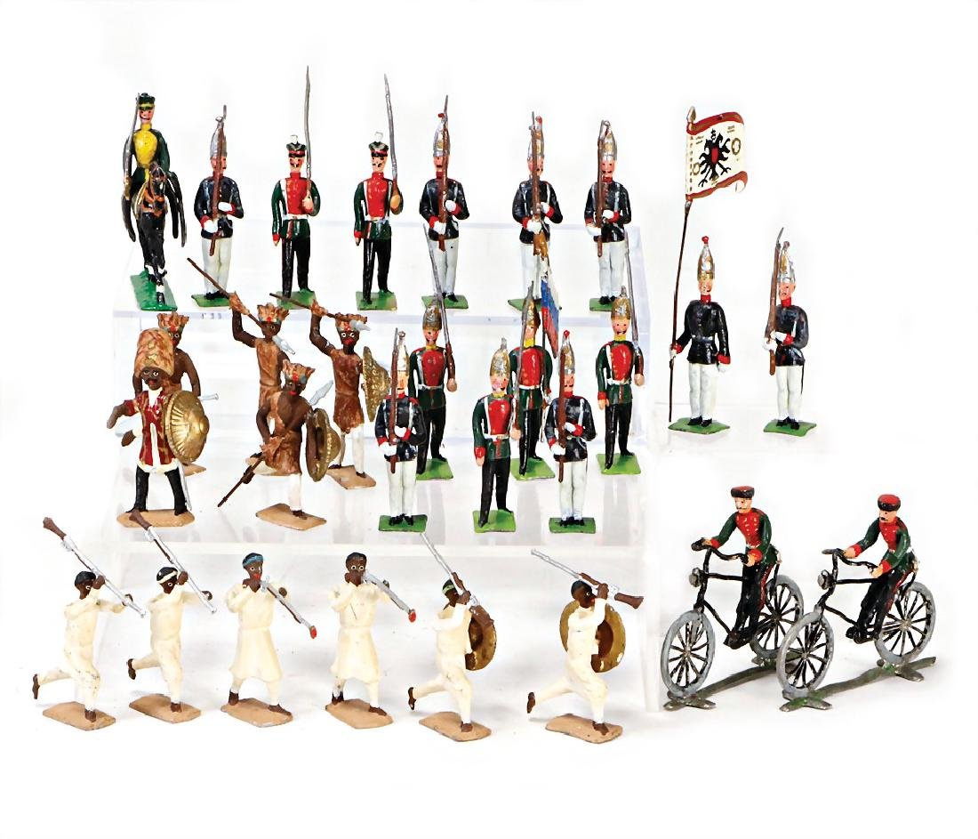 GEORG HEYDE c. 50 pieces, natives, infantry, cyclist,