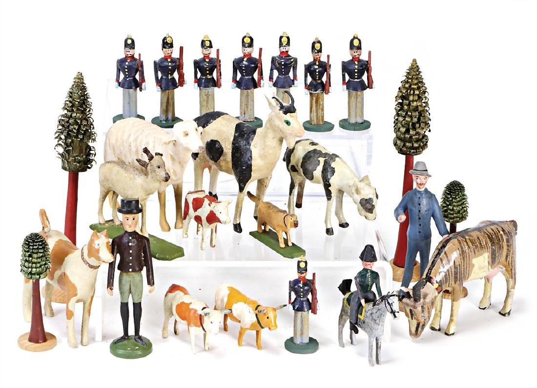 ERZGEBIRGE mixed lot, figures, wood/mass, 5.5 - 9 cm,