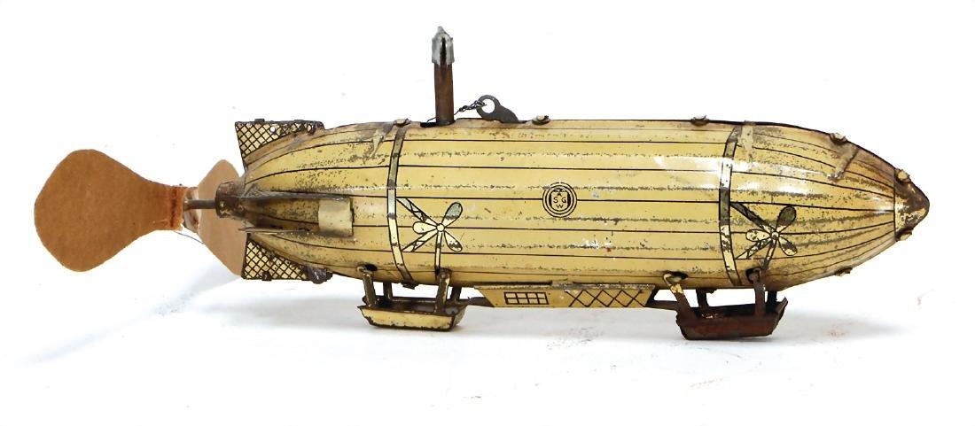 GÜNTHERMANN zeppelin, lithographed sheet metal, c.