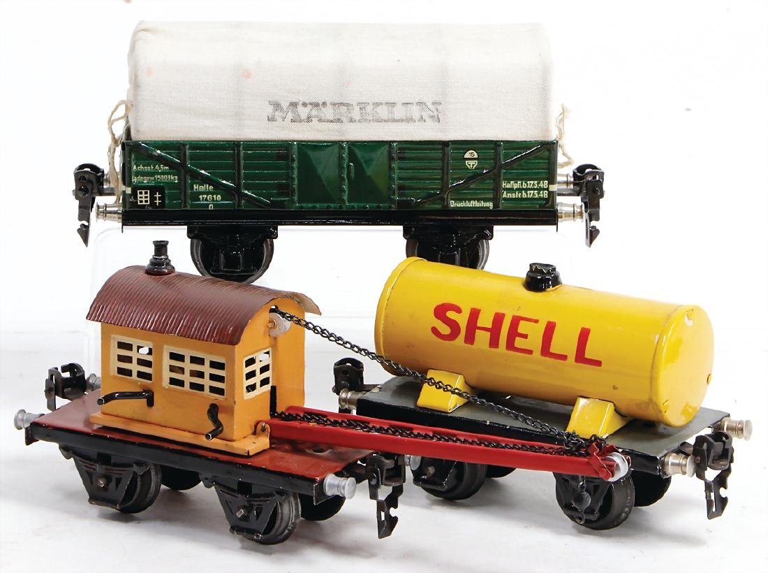 MäRKLIN track 0, 3-part, tank-car, Shell, small crane