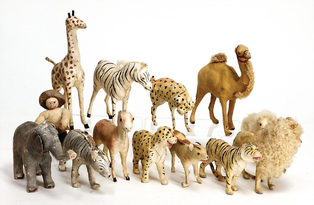 12 pieces papier mâché, fur covered game animals for an