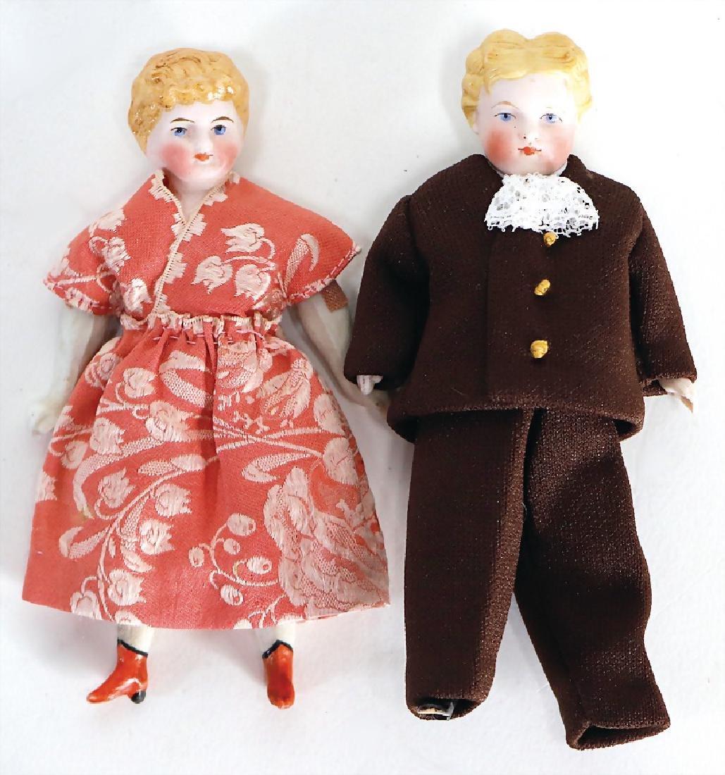 2 pieces dollhouse dolls, 1 x all-bisque, boy, 12 cm,