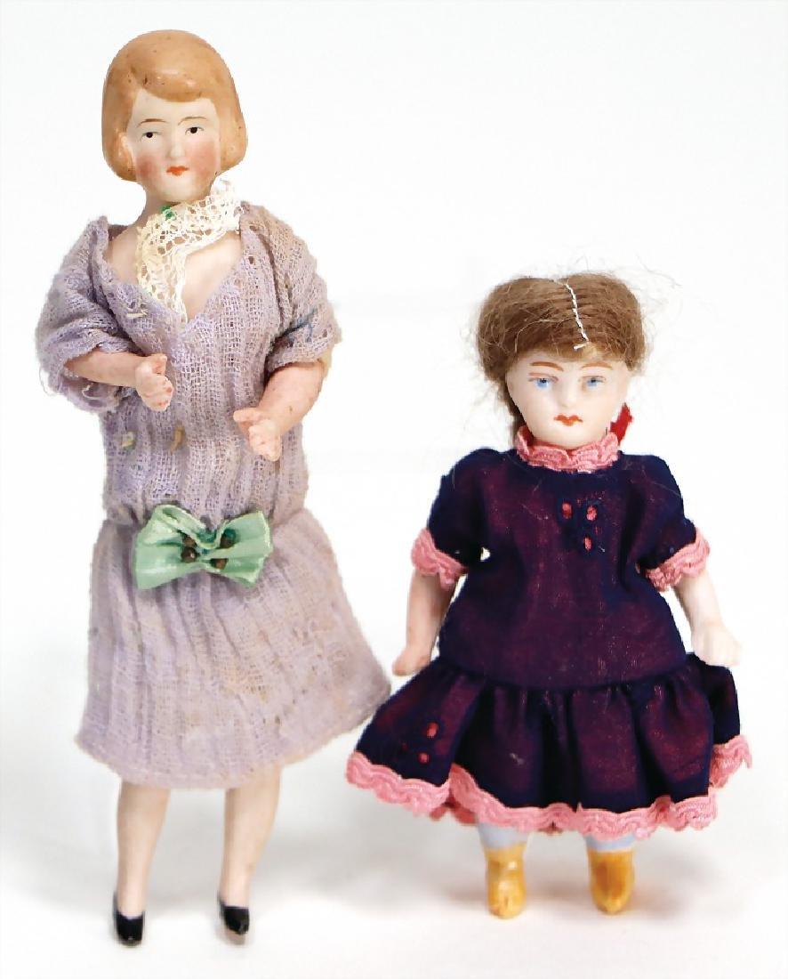 2 pieces dollhouse dolls, lady, 12.5 cm, bisque