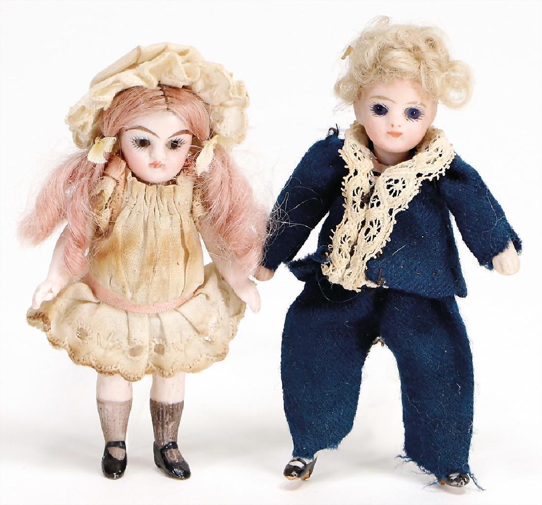dollhouse dolls, 2 pieces, children, 9 and 10 cm, boy,