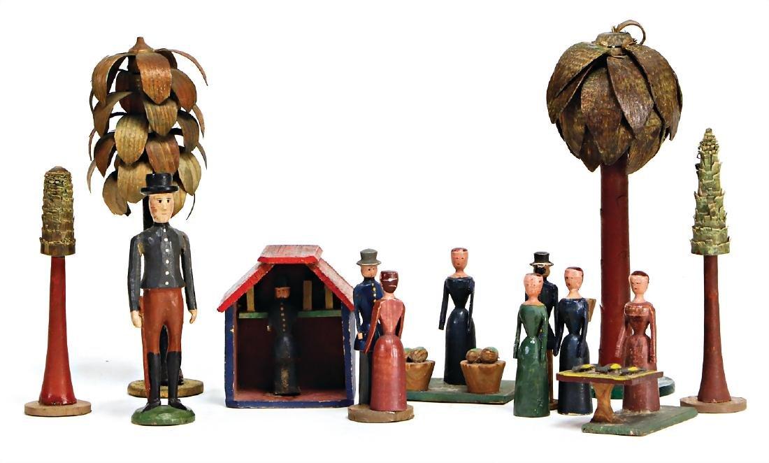 ERZGEBIRGE figures, 3 stalls, little house, fish stand,