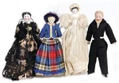 mixed lot of dollhouse dolls, 2x Biedermeier, shoulder