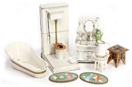 mixed lot of dollhouse- bathroom furnitures,
