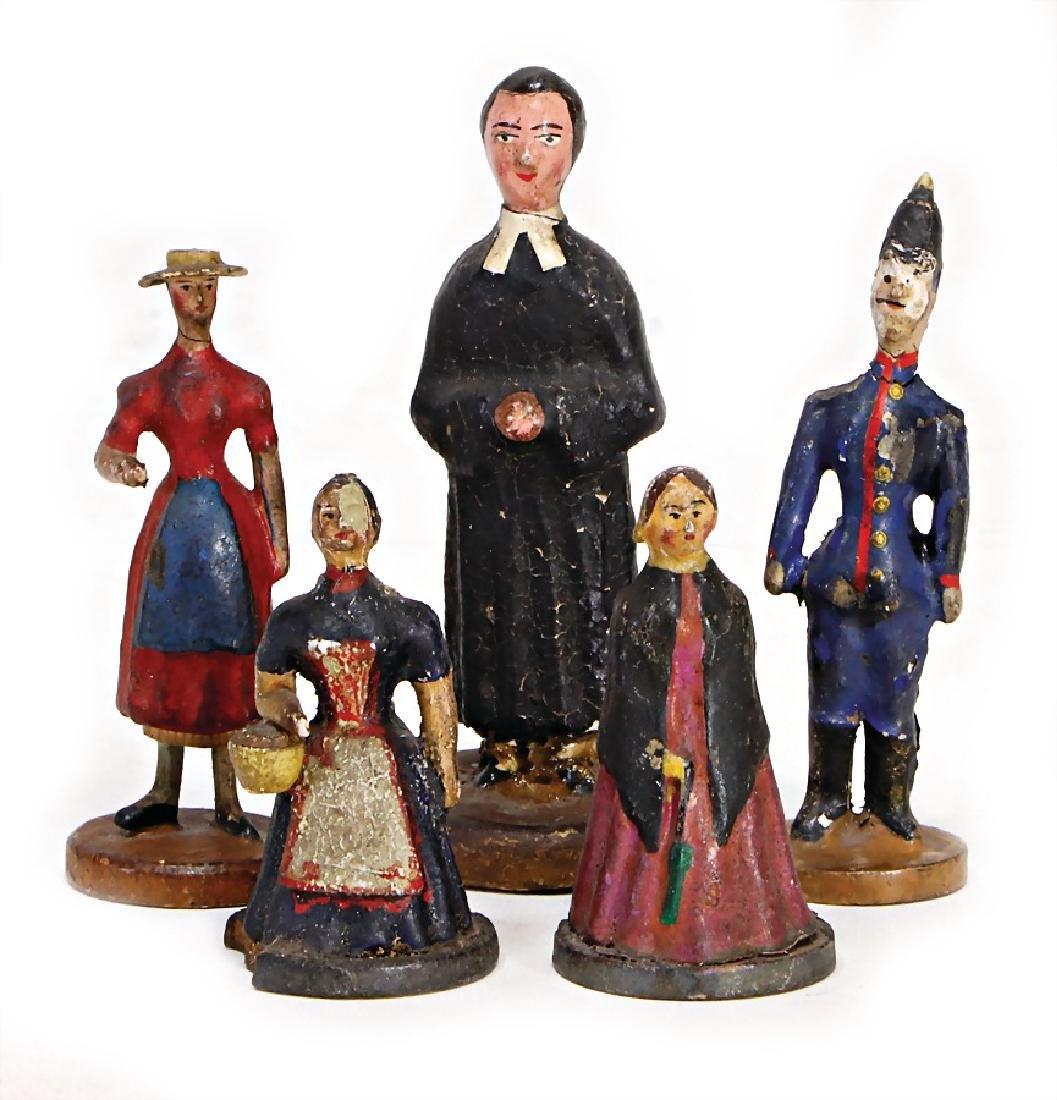 ERZGEBIRGE wood/paste figures, 5.5 - 9 cm, lady with